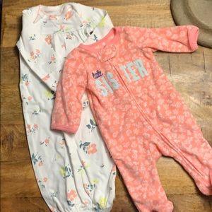 1 nb fleece sleeper and 1 nb nightgown